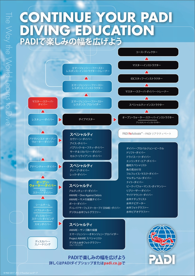 PADIダイビングライセンス・ステップアップの一覧表