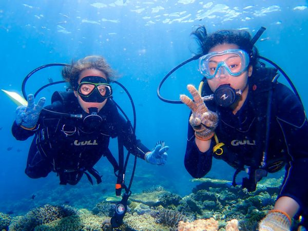 浅瀬の珊瑚が綺麗な北部でライセンス取得後ファンダイビング