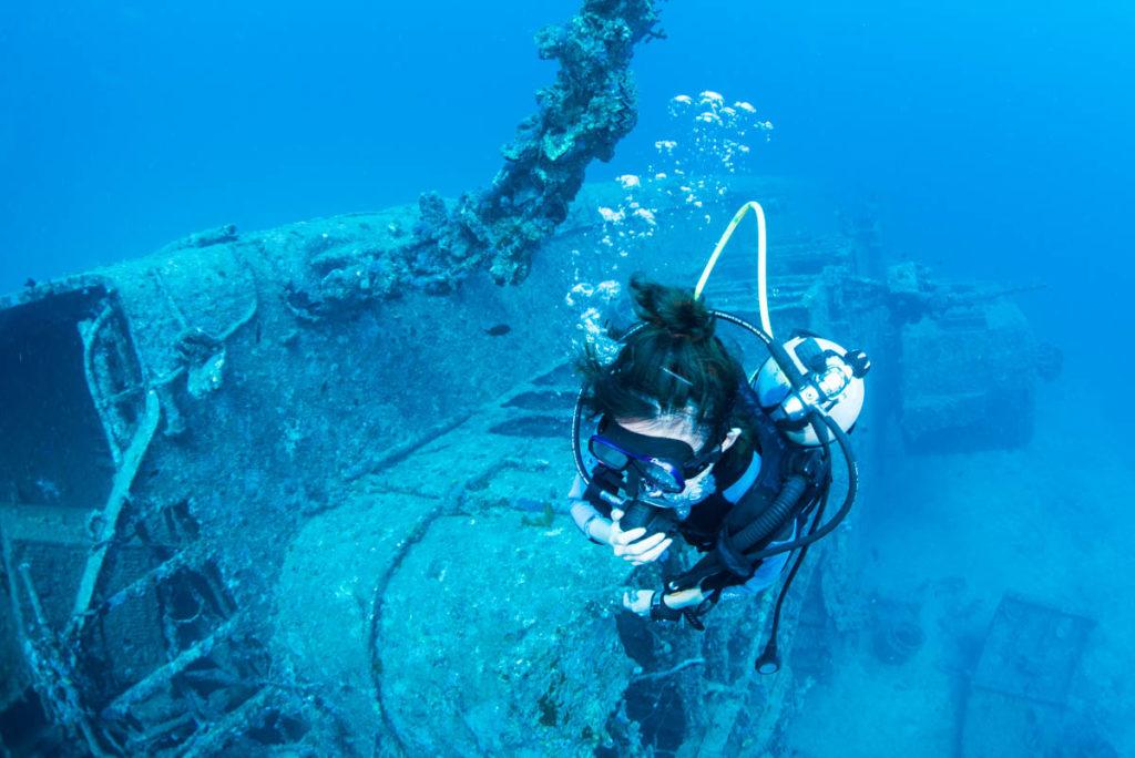 ダイバーと沈没船・USSエモンズ