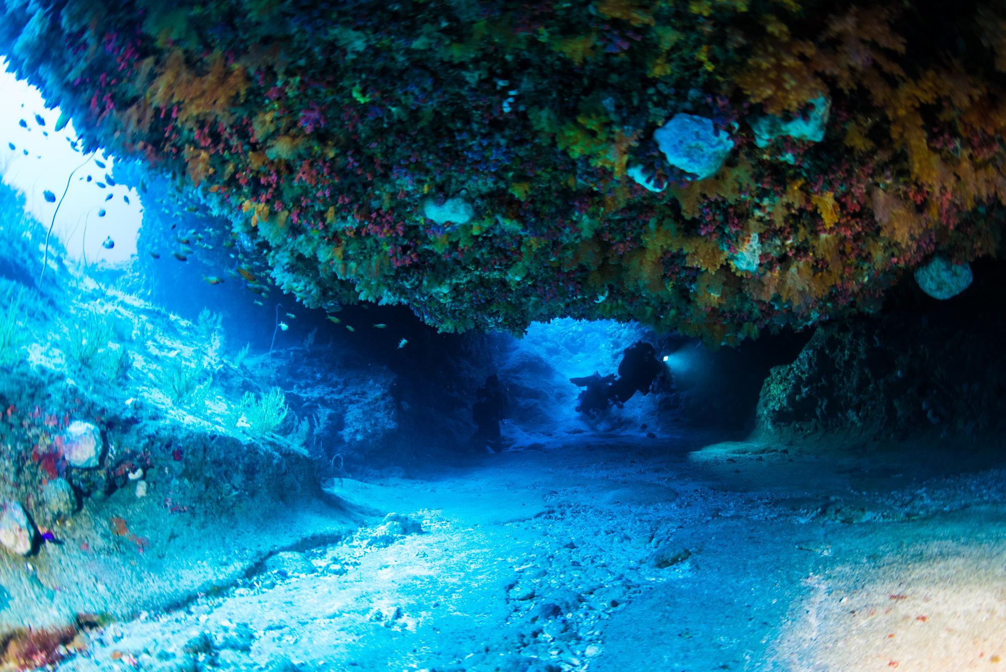 辺戸岬キャニオンの巨大な岩下