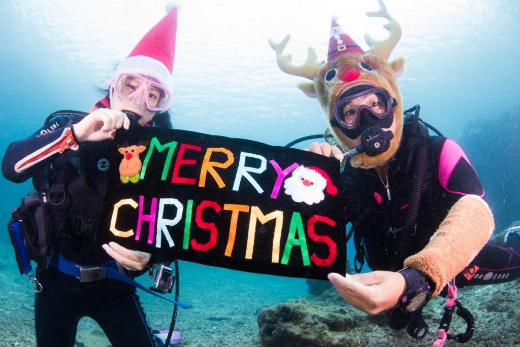 GOTO沖縄!!水中で記念撮影♡海でXmas気分*ଘ(੭*ˊᵕˋ)੭*