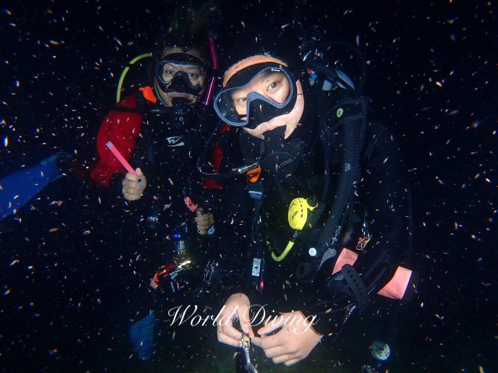 いざ、夜の海へ  沖縄初・ナイトダイビング♪